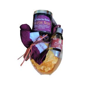 Coffret cadeau huile d'argan, savon noir, gant kessa